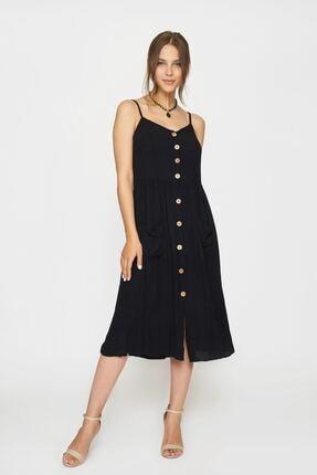 Batik Y42819 Düz Casual Elbise Kısa Kol Sıyah