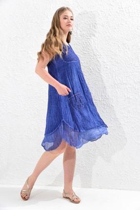 Big Free Bayan Dantel Ve Çiçekli Yama Detaylı Yıkamalı Cepli Elbise
