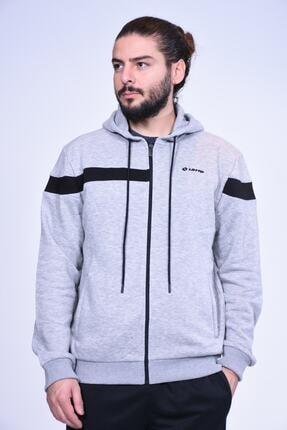 Lotto Erkek Gri Şeritli Spor Sweatshirt Rr7522