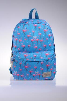 KAUKKO Unısex Flamingo Mavi Sırt Çantası Kk1039
