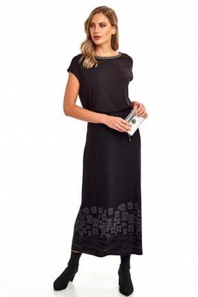 İkiler Kadın Siyah  Beli Lastikli Eteği Desenli Uzun Etek