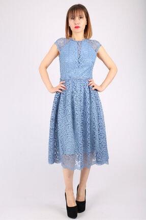Günay Kadın Abiye Elbise Dns858 Kısa Dantel-mavi
