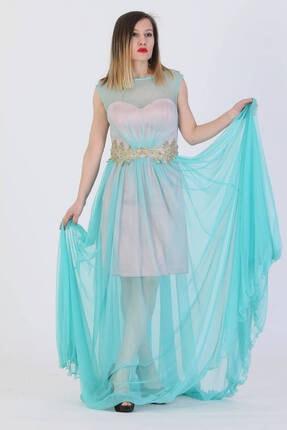 Günay Kadın Abiye Elbise Azr4422 Askılı-mavi