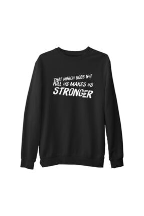 Lord Unisex Siyah Makes Stronger Kalın Sweatshirt
