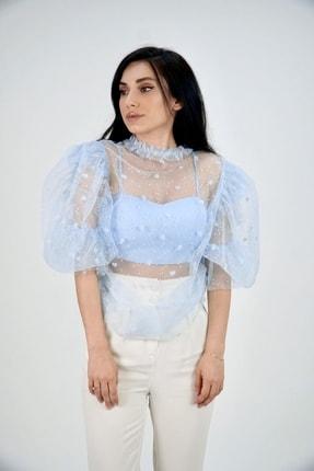 Lila Rose Kadın Mavi Kalpli Tül Bluz 21klrbu6002