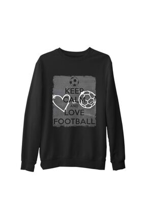 Lord Erkek Siyah Keep Calm And Love Football Kalın Sweatshirt