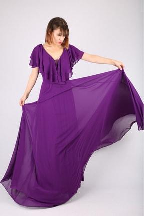 Günay Kadın Abiye Elbise Lst6100 Kısa Kol-mor