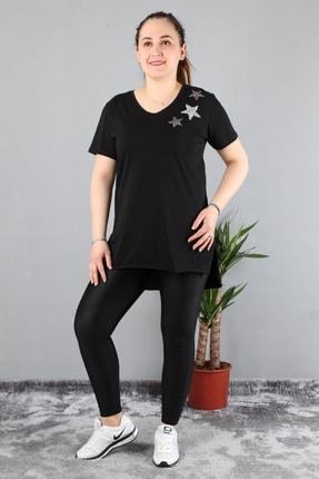 Günay Kadın Bluz Edby506 Ilkbahar Yaz V Yaka Üç Yıldız-sıyah