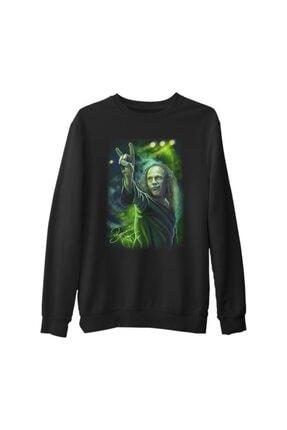 Lord Unisex Siyah Baskılı Kalın Sweatshirt