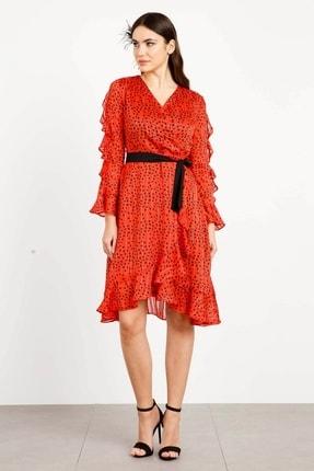 Moda İlgi Kadın Kırmızı  Puantiye Desenli Volanlı Elbise