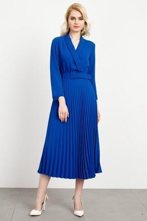 Moda İlgi Kadın Saks Modailgi  Şal Yaka Pilisoley Elbise