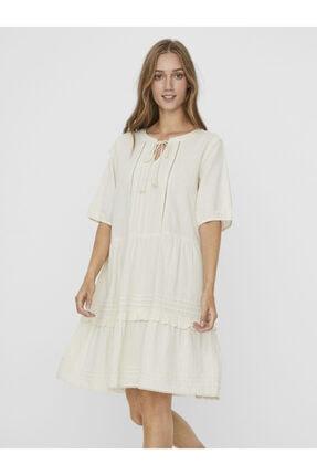 Vero Moda Kadın Bej Işlemeli ve Püskül Ipli Pamkuklu Elbise 10244782 Vmıbıa