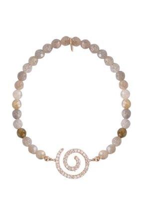Coşar Silver Kadın Gri Boncuklu Gümüş Spiral Bileklik
