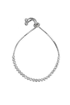 Coşar Silver Alttan Ayarlı Beyaz Taşlı Gümüş Su Yolu Bileklik