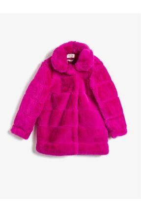 Koton Kız Çocuk Pembe Peluş Dik Yaka Ceket