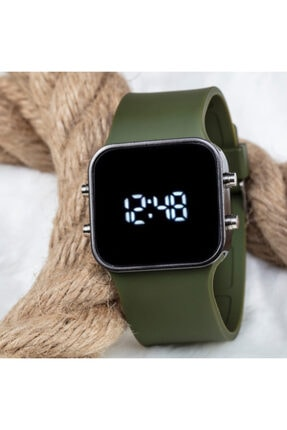 Spectrum Haki Yeşil Silikon Kordon Unisex Dijital Led Kol Saati St-303542