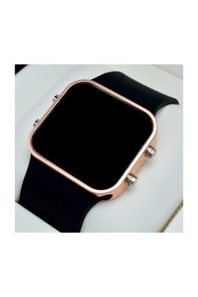 Spectrum Siyah Silikon Kordonlu Rose Metal Kasa Unisex Model Dijital Saat St-303567