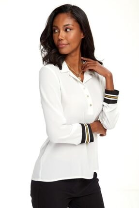 İkiler Kadın Beyaz Yakası Patlı Düğmeli Kolları Simli Bantlı Bluz 020-3000