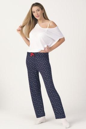 PrettyChic Kadın Lacivert Soft Viskon Kumaş Mevsimlik Tek Pijama Altı