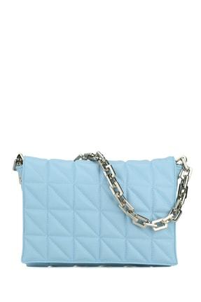 Housebags Kadın Bebe Mavisi Kapitone Baguette Omuz Çantası 200