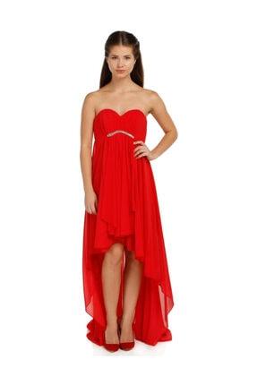 Günay Kadın Abiye Elbise Azr4489 Straplez-kırmızı