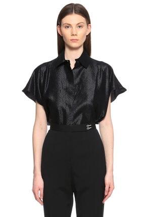 Lanvin Kısa Kollu Parıltılı Siyah Gömlek