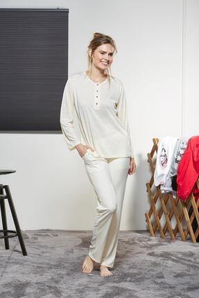 PJS PİJAMA Bayan Pijama Takım Ekru 3290