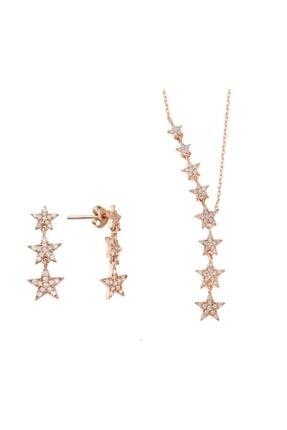 HAREM ALTIN Takım Yıldızı Ikili Rose Renk Gümüş Set Üçlü Küpe Gms2092