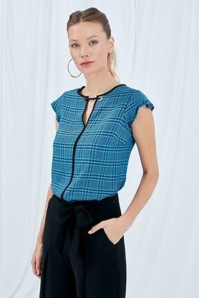 Journey Kadın Ekose Mavi Bluz 19yblz840