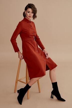 Journey Kadın Taba Elbise Polo Yaka, Ön Tüm Düğmeli, Belden Kuşaklı, Ön Kısa Arka Uzun 19kelb336