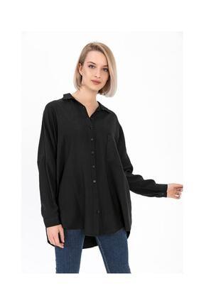 Tiffany Kadın Siyah Çiçek Baskı Keten Gömlek A0023