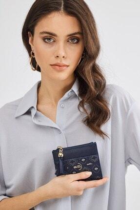 Deri Company Kadın Basic Mini Cüzdan Monogram Desenli Logolu Lacivert Beyaz (8023dc-l) 213013