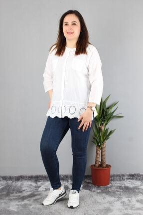 Günay Kadın Bluz Cynb0091 O Yaka Truvakar Kol Pamuk Otantik-beyaz