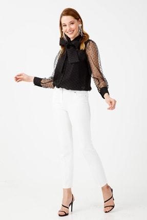 Moda İlgi Kadın Siyah Puanlı Gömlek