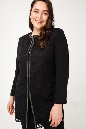 Moda İlgi Kadın Siyah Dantel Taşlı Ceket