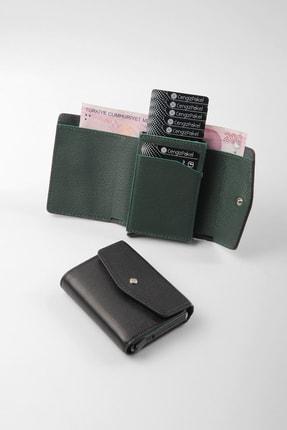 Cengiz Pakel Hakiki Deri Unisex Kartlık 2493t-siyah/yeşil
