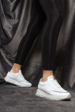 Fast Step Hakiki Deri Beyaz Kadın Sneaker Ayakkabı 009za951
