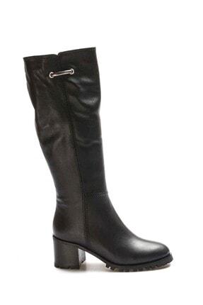 Fast Step Kadın Siyah Hakiki Deri Klasik Çizme 064yza611