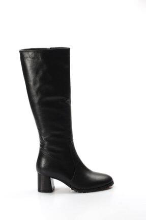 Fast Step Kadın Siyah Hakiki Deri Kürklü Kalın Topuklu Çizme 064kza998