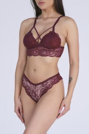 PrettyChic Kadın Bordo İpli Bralet Sütyen Külot Takım