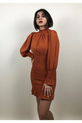 Sitare Kadın Kiremit Gipeli Elbise