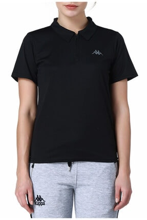 Kappa Kadın Siyah Polo Slim Fit T-shirt