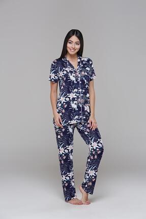 PJS PİJAMA 21555 Kadın Kısa Kollu Baskılı Düğmeli Pijama Takım