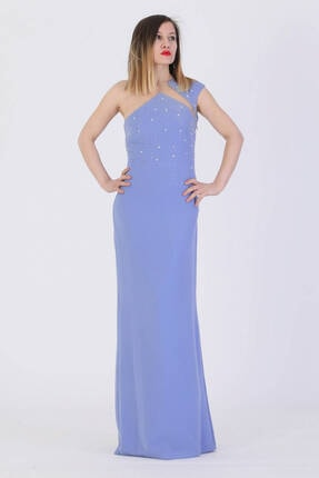 Günay Kadın Abiye Elbise Alch8110 Askılı-mavi