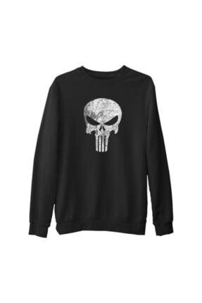 Lord Unisex Siyah Punisher Kalın Sweatshirt