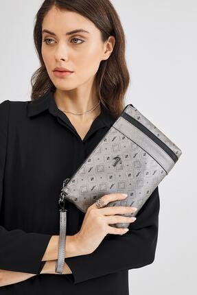 Deri Company Kadın Basic Clutch Çanta Monogram Desenli Şeritli Gümüş Siyah (4006g) 214012