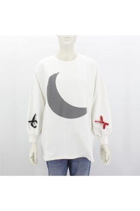 Hane14 Kadın Beyaz Hilal Desenli Uzun Sweatshirt 6571