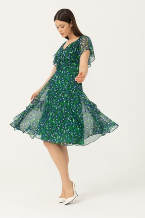 Seçil Kadın V Yaka Pelerin Kol Desenli Elbise 2913523 Yeşil