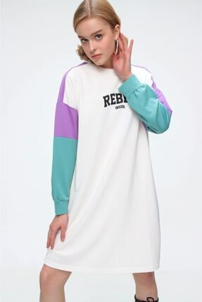Bigdart 4242 Çok Renkli Rebel Baskılı Sweat Elbise