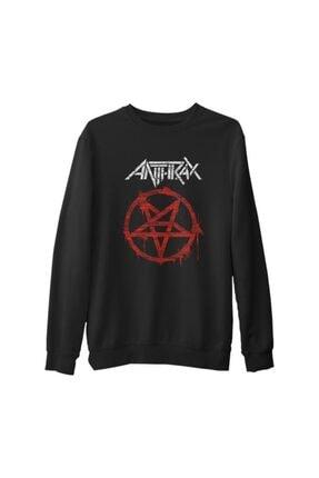 Lord Erkek Siyah Anthrax Logo Kalın Sweatshirt